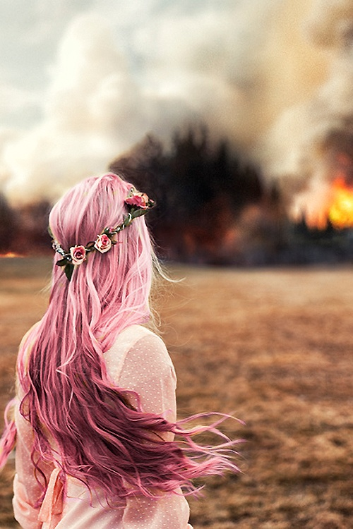 Long pink hair with a pink flower crown