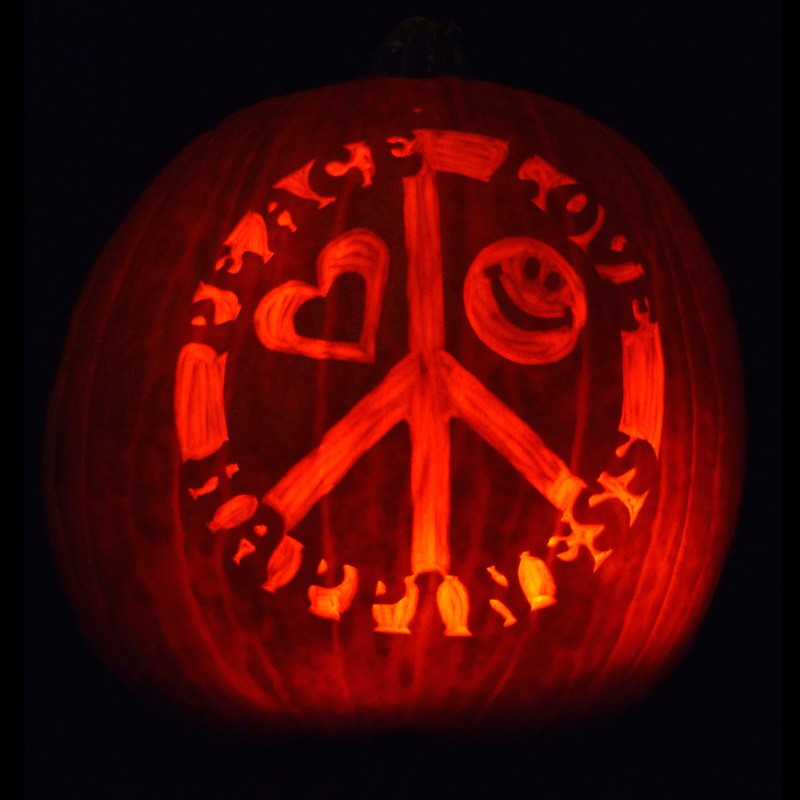 Peace love happiness pumpkin