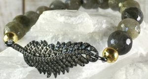 Pave Feather Charm And Gemstone Bracelet