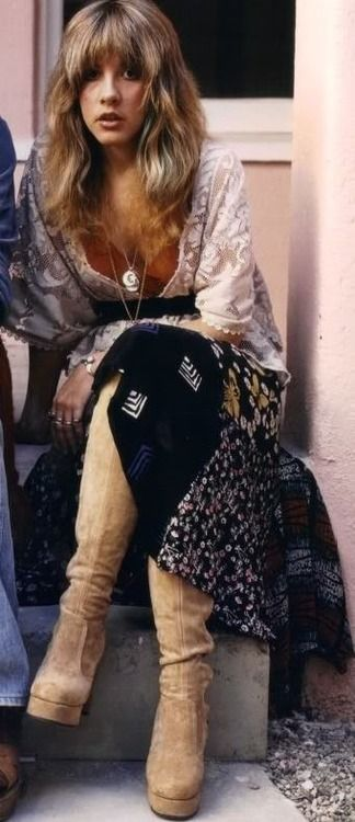 The Iconic Style Of Stevie Nicks Go Hippie Chic
